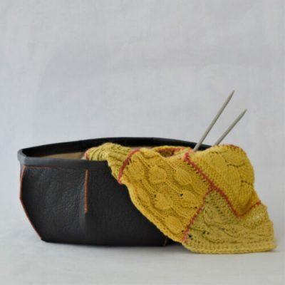upcycled leather basket